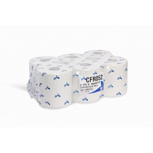 White Centre Feed 2 Ply 150m x 175mm 6 pack - CF4042