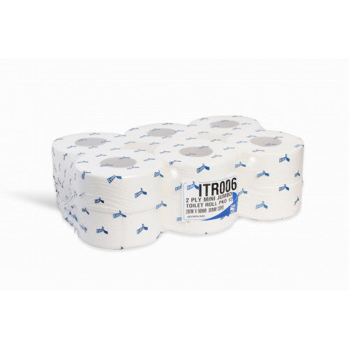 Mini Jumbo Toilet Tissue Paper 60mm Core 200M x 90mm  2ply 12 Rolls -JWH200