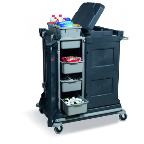 NCG3000 Enclosed Janitorial Trolleys With Waste Bin